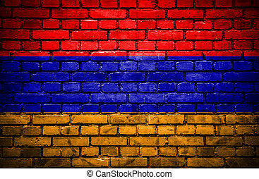 Brick wall with painted flag of Armenia