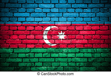 Brick wall with painted flag of Azerbaijan