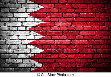 Brick wall with painted flag of Bahrain