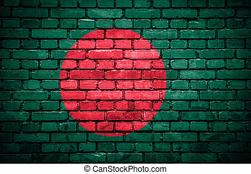 Brick wall with painted flag of Bangladesh