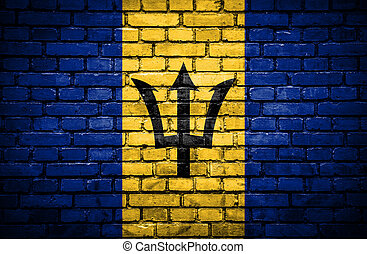 Brick wall with painted flag of Barbados