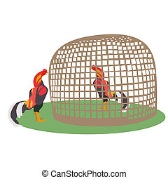 Chicken In Coop - Vector and illustration of chicken in...