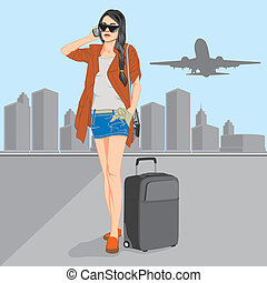 woman in airport - Vector by syaiful_anwar, Available in...