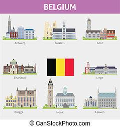 Belgium. Symbols of cities. Vector set