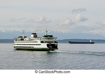 Ferry, Freighter and Mountains - The ferry and freighter in...