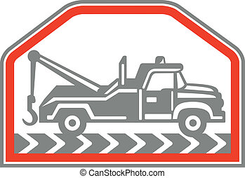 Tow Wrecker Truck Side Retro - Illustration of a tow wrecker...