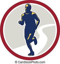 Marathon Runner Running Circle Retro