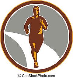 Marathon Runner Running Circle Retr - Illustration of...