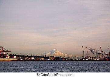 Mount Rainier and Port of Seattle - Mount Rainier towers...