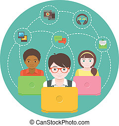 Children and Social Networking - Conceptual illustration of...