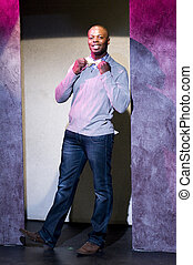young african american actor on stage theater portrait