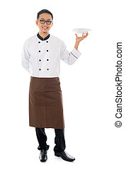Asian male chef - Full body Asian chef holding an empty...