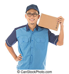 Delivery man - Delivery person delivering package smiling...