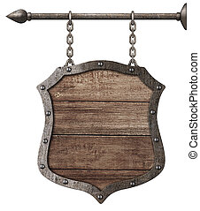 medieval wood sign or shield hanging on chains isolated on...