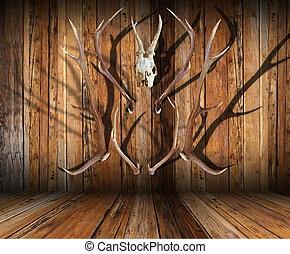 caça, troféus, madeira