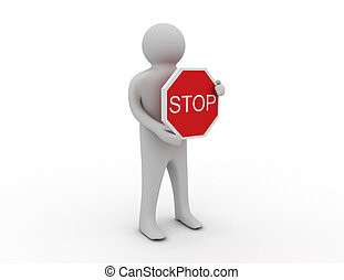 3d man with stop sign
