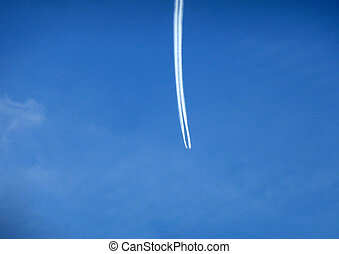 Airplane Trail - A hard to see airplane and its chemtrail...
