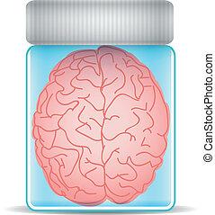 Brain in glass jar