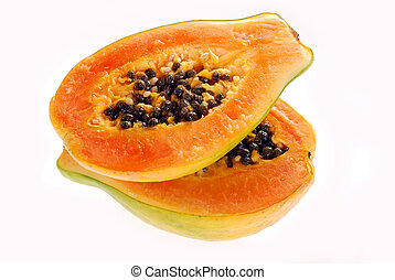 two halves of fresh papaya isolated on white - two halves of...