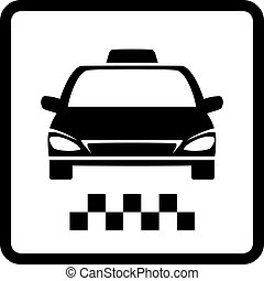 black taxi car - sign with black taxi car silhouette