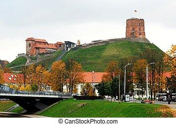 Vilnius, Tower of Gediminas, symbol of Vilnius. Autumn in...