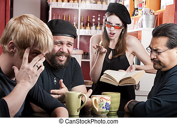 Bad Poetry - Three men listening to bad female poet with...