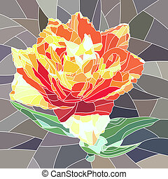 Mosaic of orange tulip - Vector mosaic with large cells of...