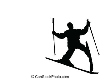 failure at ski, fallin skiier silhouette vector
