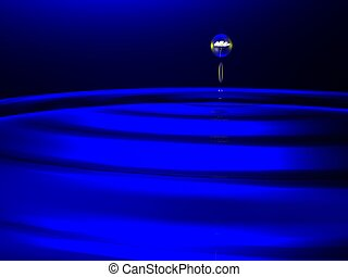 waterdrops on dark-blue background