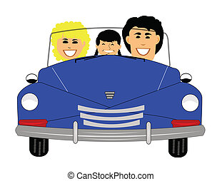 family out for drive in retro car