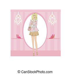 girl shopping in shoe shop