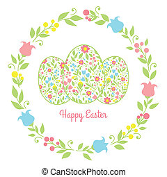 card easter eggs with flowers