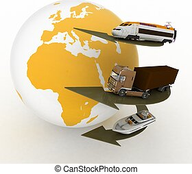 types of transport and globe conception of transport...