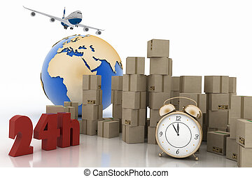Boxes, airplane and alarm clock - Pile of carton boxes with...