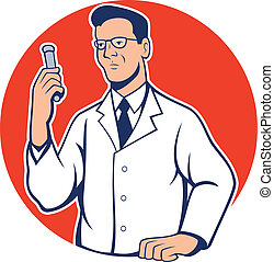 Scientist Lab Researcher Chemist Cartoon - Illustration of...