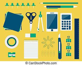 Office supplies (flat design)