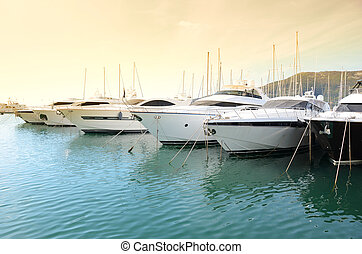 Row of yachts in the port of La Spezia, Italy