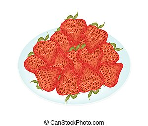 Delicious Red Strawberries in A White Plate