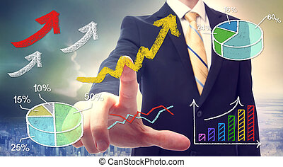 Businessman pointing at rising arrows and graph cartoon