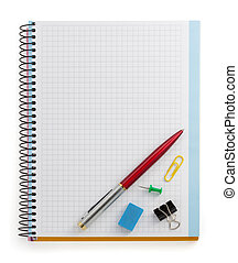 notebook and office accessories isolated on white background