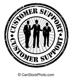 Customer support stamp - Customer support grunge rubber...