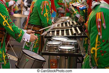 Percusión, Músicos, toma, parte, carnaval,...