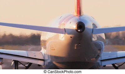 airplane taking off close up - airplane taking off at...