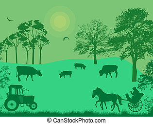 Cows and pigs in a meadow