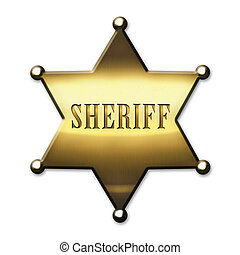 Golden Sheriff Star - isolated on white background
