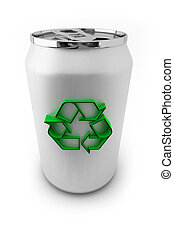 Recycle Aluminum - Aluminum soda can with green recycling...