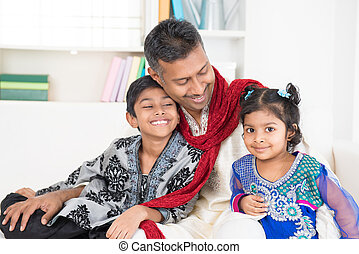 Indian father and children