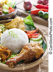 Ayam penyet - Popular delicious Indonesian local food nasi...