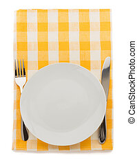 plate, knife and fork at cutting board - plate, knife and...