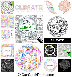 Climate. Concept illustration. - Climate. Word cloud...